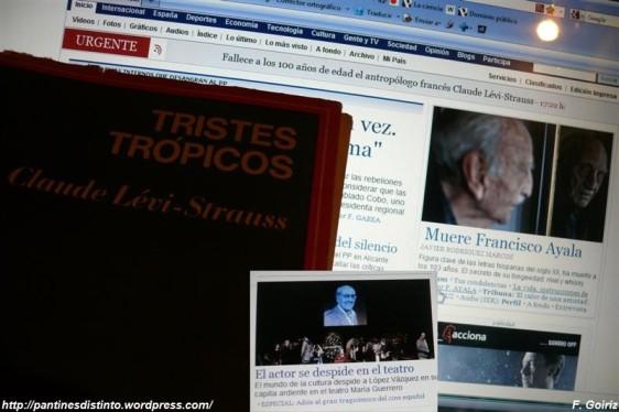 02 muere josé luis lópez vázquez, 03 de noviembre de 2009 mueren francisco ayala y claude lévi-strauss - foto f. goiriz